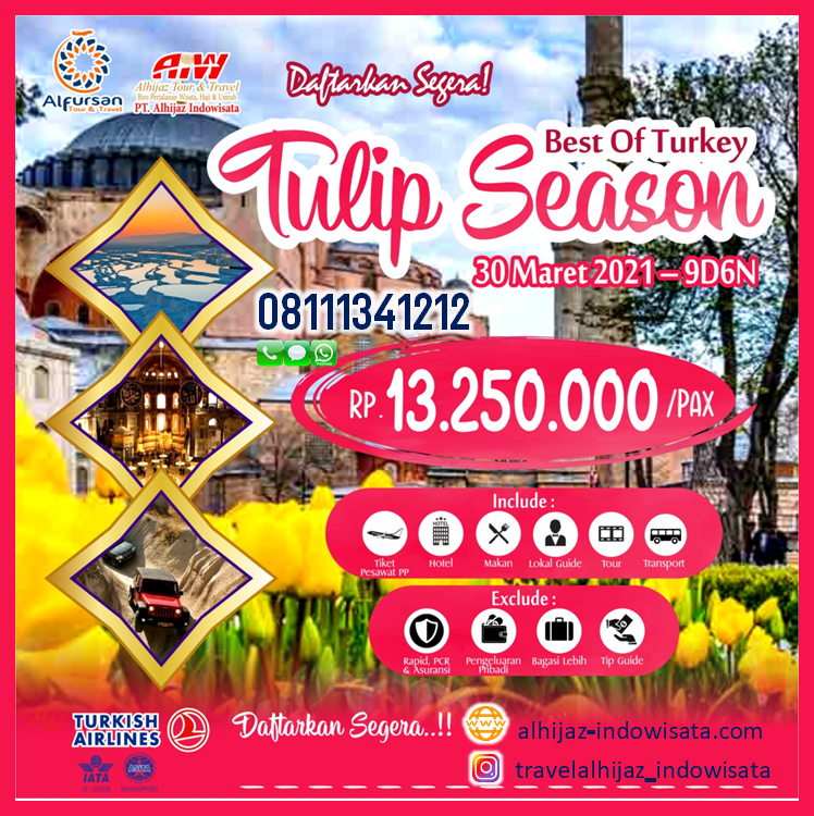 tour turki 9 hari maret 2021 tulip