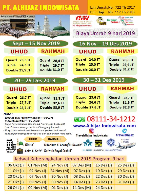BIAYA UMROH NOVEMBER 2019 JAKARTA
